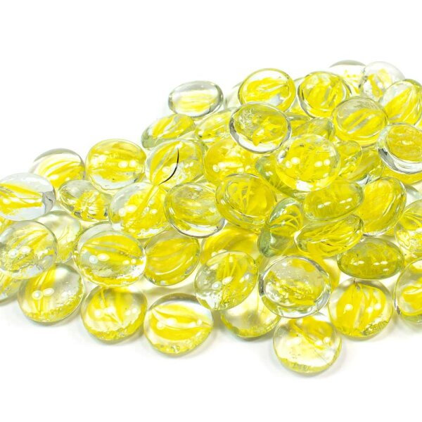 Glasnuggets Swirl Gelb 1kg (17-20mm)