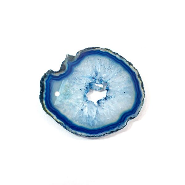 Achatscheibe Blau 4-6 cm gebohrt