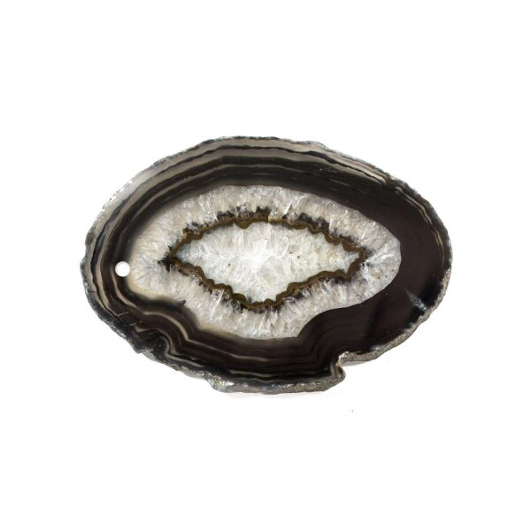 Achatscheibe Schwarz 4-6 cm gebohrt