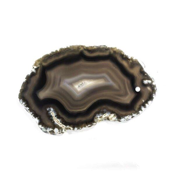Achatscheibe Schwarz 6-8 cm gebohrt