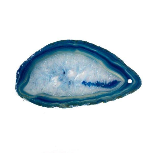 Achatscheibe Blau 8-10 cm gebohrt