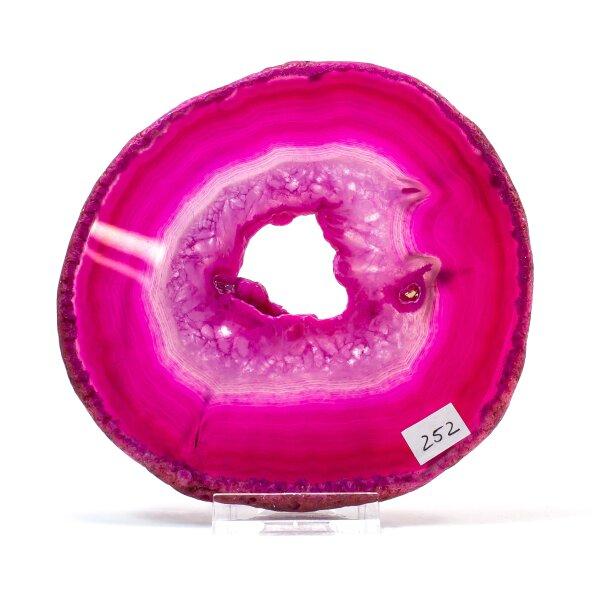 Achatscheibe Single Pink ca. 12,4 cm - 207 g inkl. Rand geschliffen