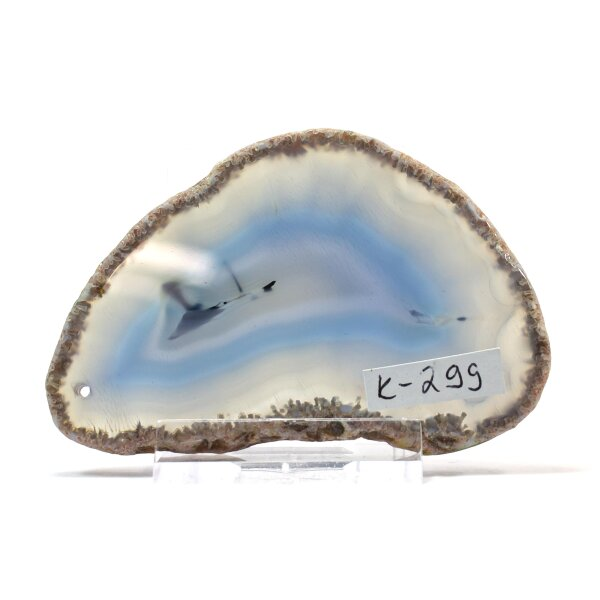 Achatscheibe Single Hell-Blau ca. 7,9 cm - 35 g inkl. Rand geschliffen & Bohrung