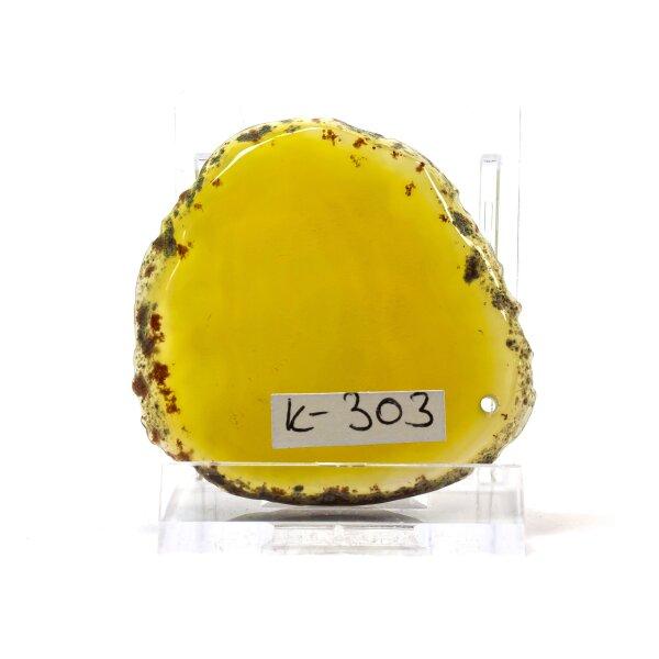 Achatscheibe Single Gelb ca. 4,8 cm - 18 g inkl. Rand geschliffen & Bohrung