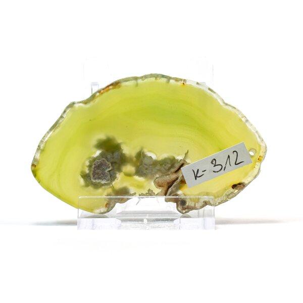 Achatscheibe Single Gelb ca. 7,2 cm - 26 g inkl. Rand geschliffen & Bohrung