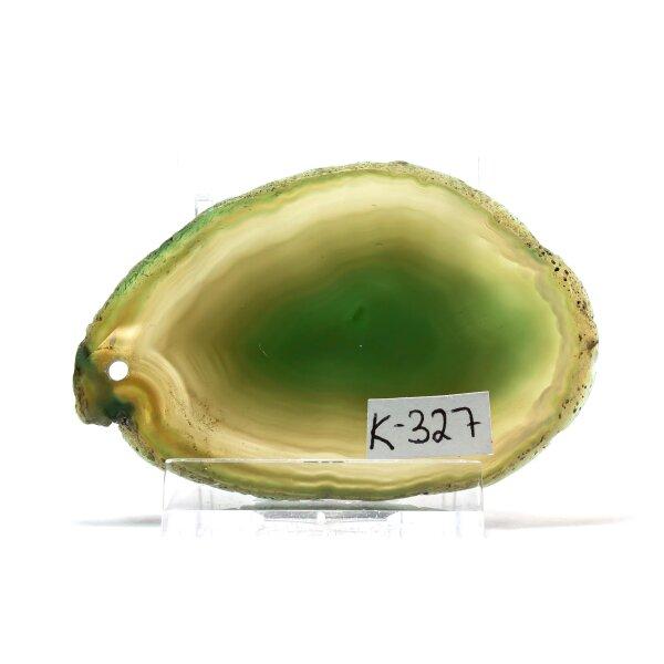 Achatscheibe Single Grün ca. 6,9 cm - 27 g inkl. Rand geschliffen & Bohrung