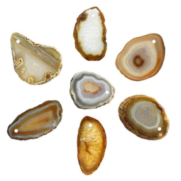 1 gebohrt Achatscheibe natur 4-6 cm II. Wahl