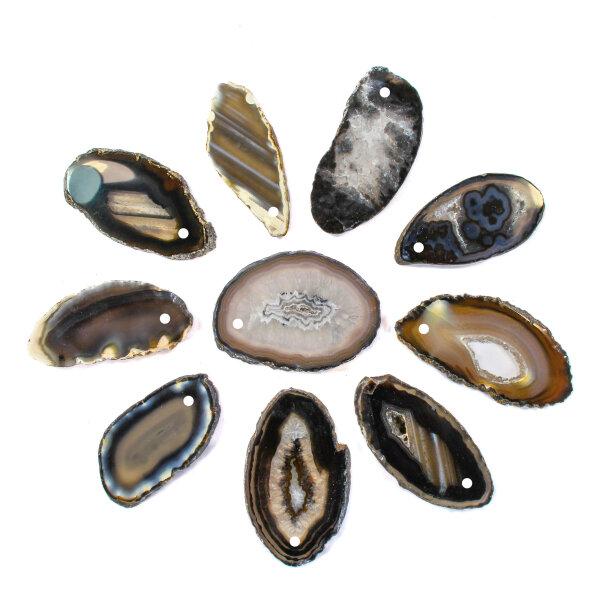 1 gebohrt Achatscheibe schwarz 4-6 cm II. Wahl