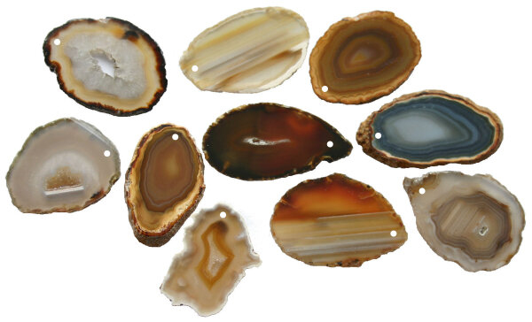 1 gebohrt Achatscheibe natur 8-10 cm II. Wahl