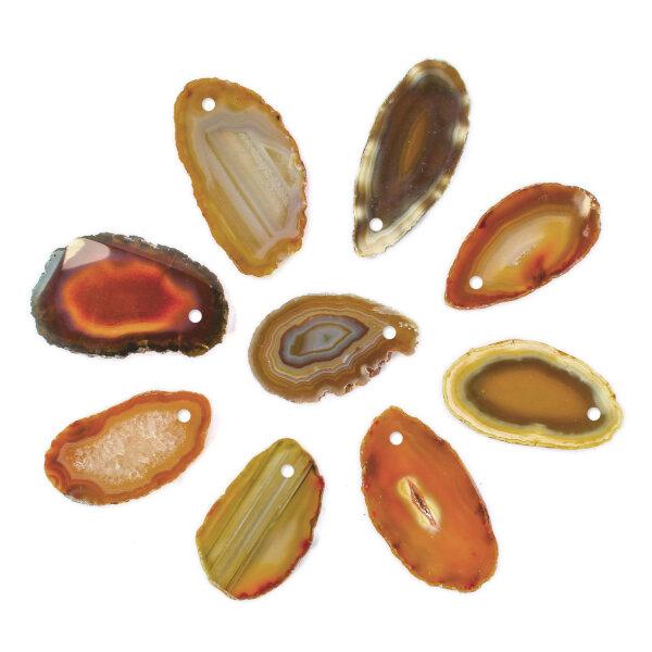 1 gebohrt Achatscheibe natur 10-12 cm II. Wahl