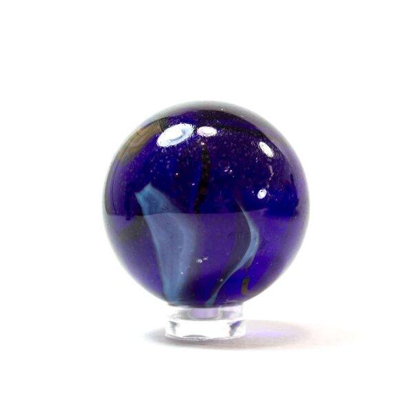 Glaskugel Crystal Kobaltblau gebändert (40mm)