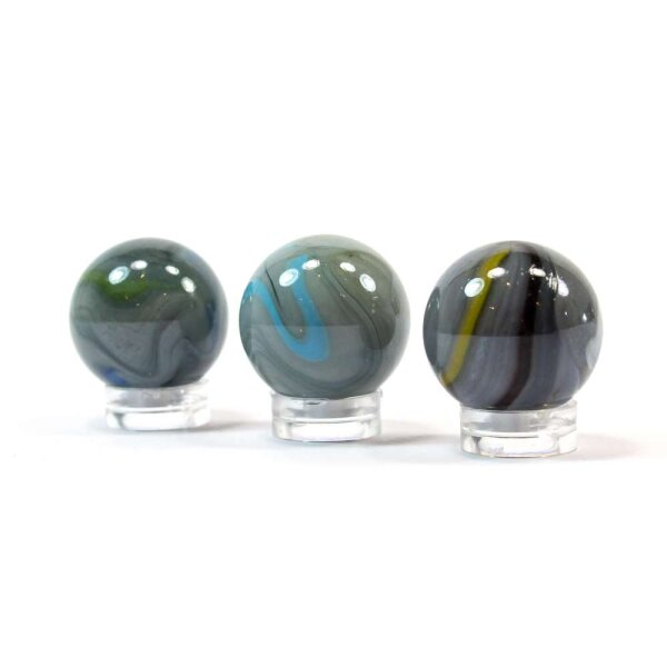 Glaskugel Opak Grau Blau gebändert (25mm)