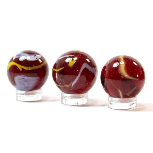 Glaskugel Crystal Rot gebändert (25mm)