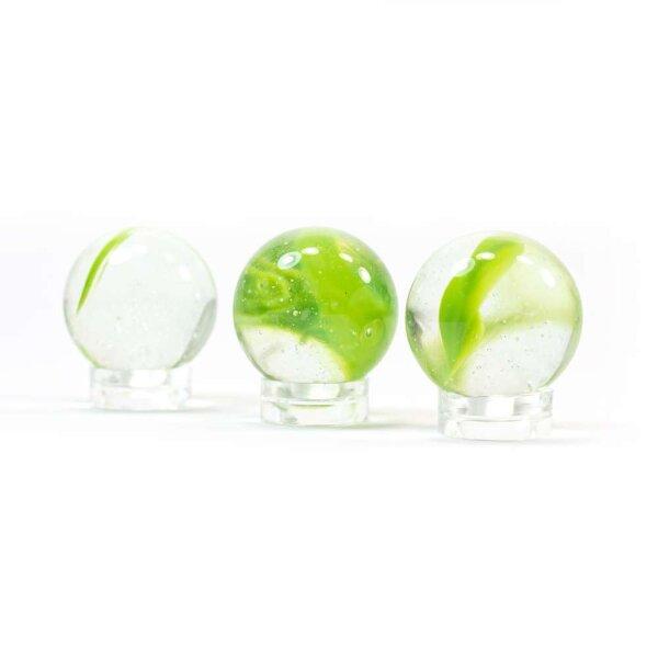 Glaskugel Crystal Glasklar Grün gebändert (25mm)