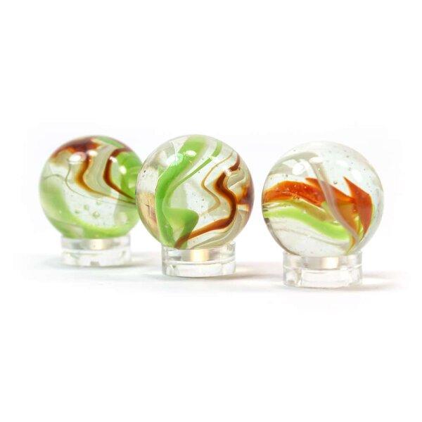 Glaskugel Crystal Glasklar Orange gebändert (25mm)