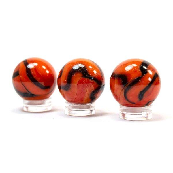 Glaskugel Opak Orange Schwarz gebändert (25mm)