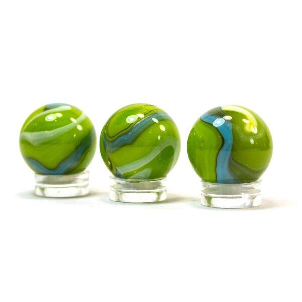 Glaskugel Opak Grün Blau gebändert (22mm)