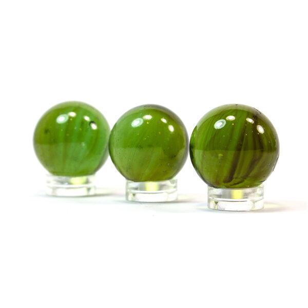 Glaskugel Crystal Olivgrün marmoriert (25mm) II Wahl