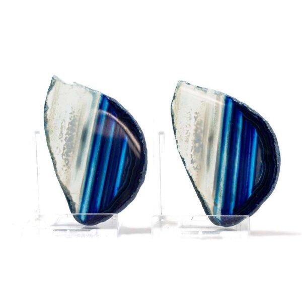 Achatscheiben Pärchen Blau je ca.6,7cm - je 22g