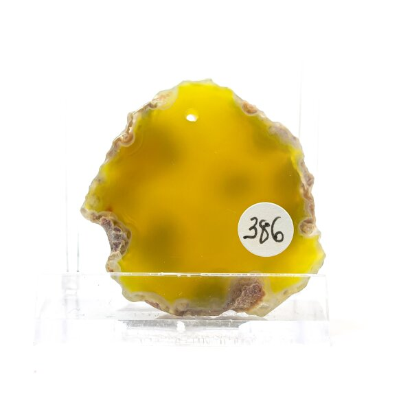 Achatscheibe Single Gelb ca. 3,5 cm - 12 g inkl. Rand geschliffen & Bohrung